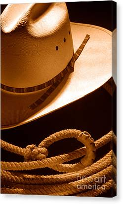 Cowboy Hat And Lasso - Sepia Canvas Print by Olivier Le Queinec