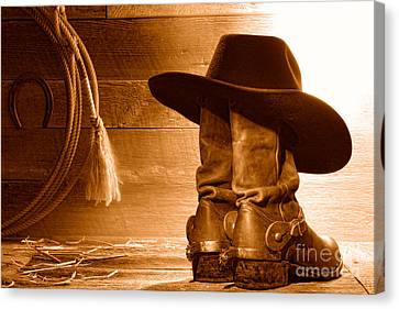 Cowboy Hat On Boots - Sepia Canvas Print by Olivier Le Queinec