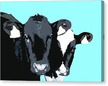 Cows - Blue Canvas Print