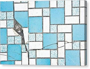 Cracked Tiled Surface Canvas Print
