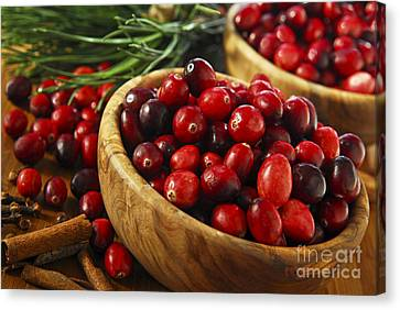 Cranberries In Bowls Canvas Print by Elena Elisseeva
