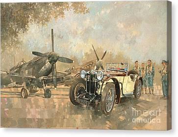 Cream Cracker Mg 4 Spitfires  Canvas Print by Peter Miller