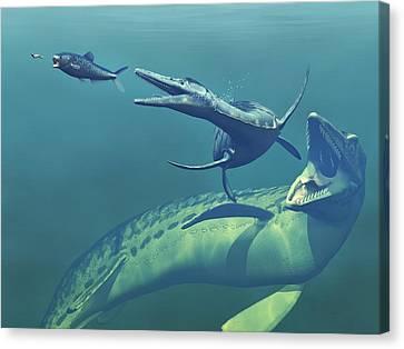 Cretaceous Marine Predators, Artwork Canvas Print by Walter Myers