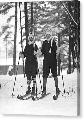 Cross Country Skiing Canvas Print by Underwood Archives