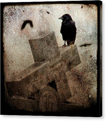 Cross With Crow Canvas Print