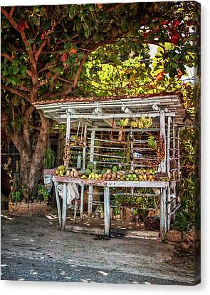 Canvas Print featuring the photograph Cuban Fruit Stand by Joan Carroll