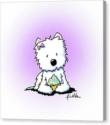 Cupcake Westie Canvas Print by Kim Niles