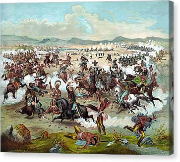 Canvas Print featuring the painting Custer's Last Stand by War Is Hell Store