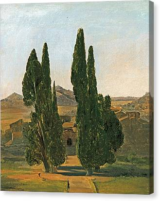 Cypress Trees At The Villa D'este Canvas Print by Charles Lock Eastlake