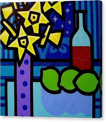 Daffs Wine And Limes Canvas Print by John  Nolan