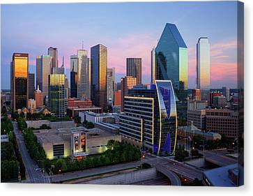 Dallas Skyline At Dusk Canvas Print by Jeremy Woodhouse