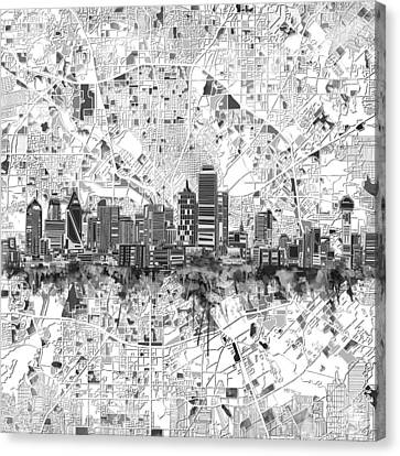 Dallas Skyline Map Black And White 5 Canvas Print by Bekim Art