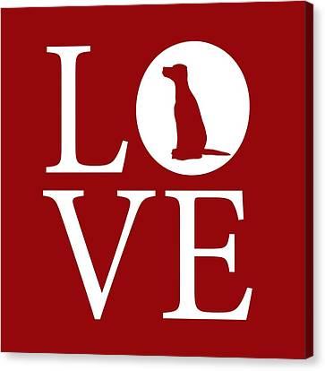 Dalmatian Love Red Canvas Print by Nancy Ingersoll