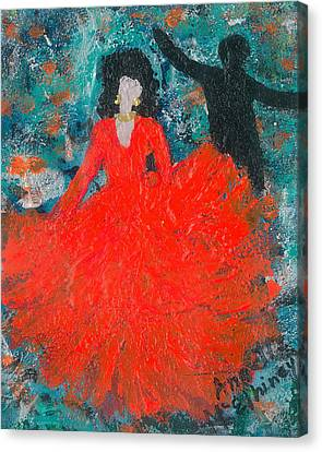Dancing Joyfully With Or Without Ned Canvas Print by Annette McElhiney