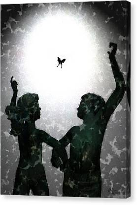 Canvas Print featuring the digital art Dancing Silhouettes by Holly Ethan