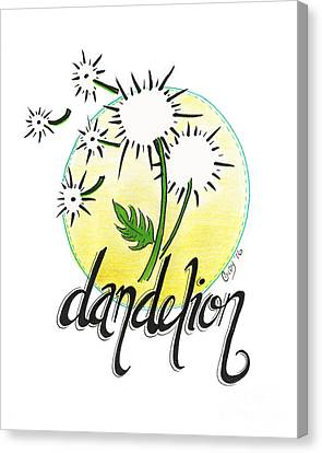 Canvas Print featuring the drawing Dandelion by Cindy Garber Iverson