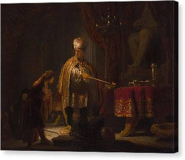 Christian Sacred Canvas Print - Daniel And Cyrus Before The Idol Bel by Rembrandt van Rijn