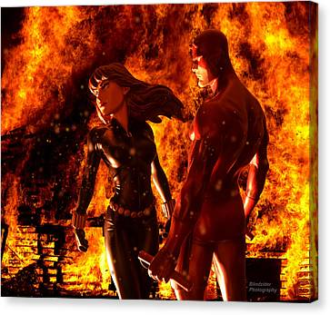 Burning Statue Canvas Print - Daredevil And Black Widow - Fire by Blindzider Photography