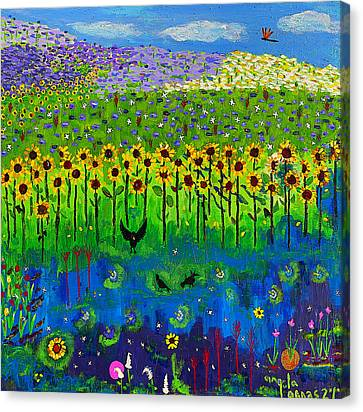 Day And Night In A Sunflower Field  Canvas Print by Angela Annas
