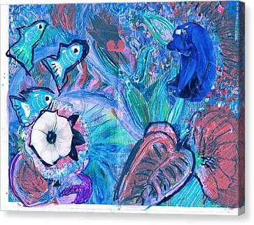 De Bear No Lookee De Fish Get Wey Canvas Print by Anne-Elizabeth Whiteway