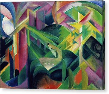 Deer In A Monastery Garden Canvas Print by Franz Marc