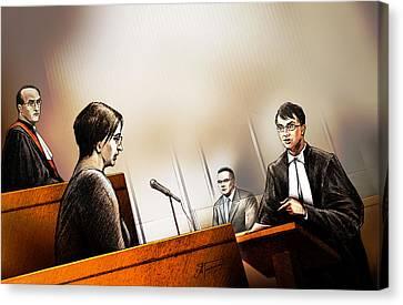 Defence Attorney Dirk Derstine At The Tori Stafford Murder Trial In London Canvas Print by Alex Tavshunsky