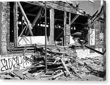 Demolishing Stucco Corrugated Iron Clad Wood Framed Building Reykjavik Iceland Canvas Print by Joe Fox
