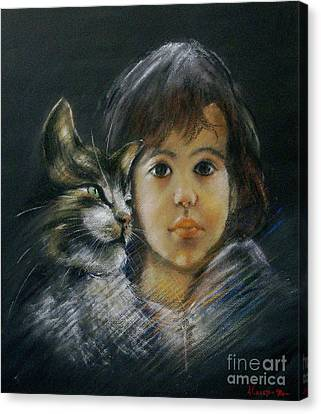 Denese And Cat Canvas Print