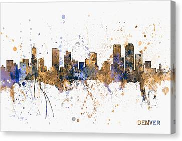 Denver Colorado Skyline Cityscape Canvas Print by Michael Tompsett