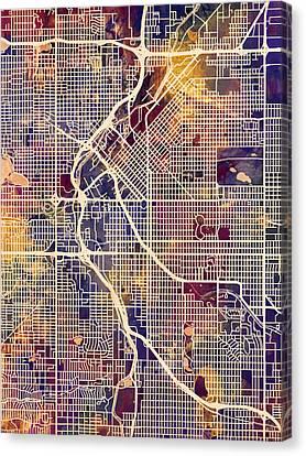 Denver Colorado Street Map Canvas Print by Michael Tompsett