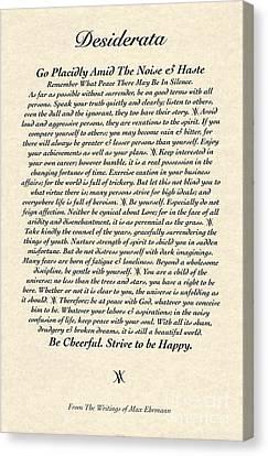 Desiderata On Parchment Canvas Print
