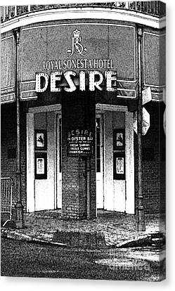 Desire Corner Bourbon Street French Quarter New Orleans Black And White Fresco Digital Art Canvas Print by Shawn O'Brien