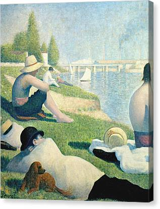Seurat Canvas Print - Detail From Bathers At Asnieres by Georges Pierre Seurat