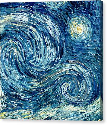 Detail Of The Starry Night Canvas Print by Vincent Van Gogh