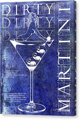Dirty Dirty Martini Patent Blue Canvas Print