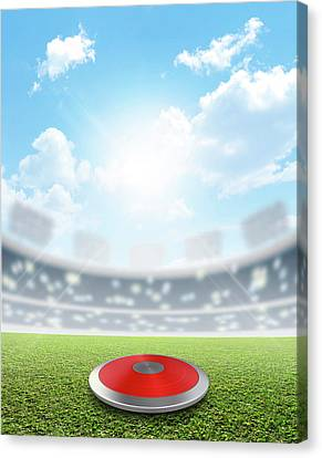 Discus Stadium And Green Turf Canvas Print