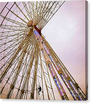 Dismantling Of A Ferris Wheel. Canvas Print