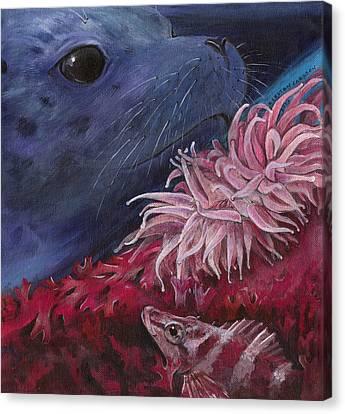 Diving Among Seaweed Canvas Print