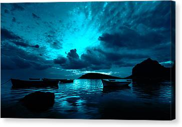 Docked At Dusk Canvas Print by Julian Cook
