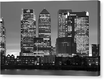 Docklands Canary Wharf Sunset Bw Canvas Print by David French