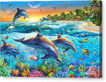 Dolphin Bay Canvas Print by Adrian Chesterman