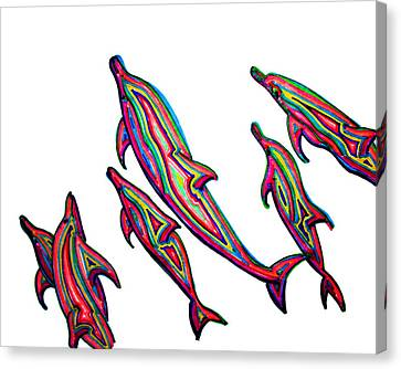 Dolphins Canvas Print by W Gilroy