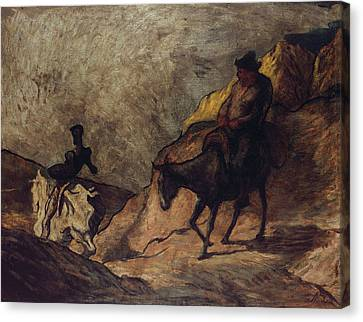 Don Quixote And Sancho Panza Canvas Print by Honore Daumier