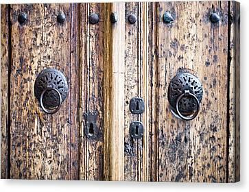Medieval Entrance Canvas Print - Door Handles by Tom Gowanlock