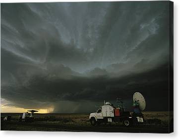Doppler On Wheels Radar Trucks Wait Canvas Print by Carsten Peter