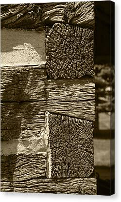 Dovetail Log Structure Canvas Print by Donald  Erickson