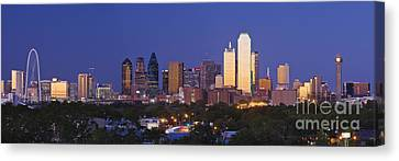 Dallas Canvas Print - Downtown Dallas Skyline At Dusk by Jeremy Woodhouse
