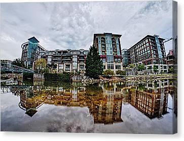 Downtown Of Greenville South Carolina Around Falls Park Canvas Print by Alex Grichenko