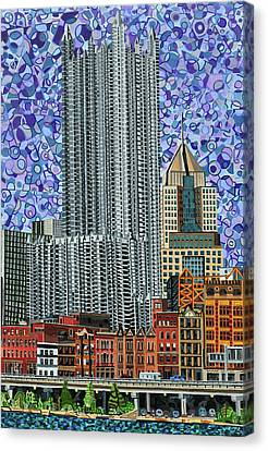 Downtown Pittsburgh - View From Smithfield Street Bridge Canvas Print by Micah Mullen