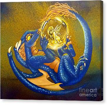 Dragon And Captured Fairy Canvas Print